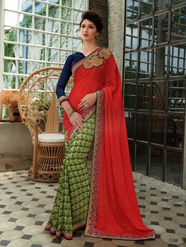 Picture of 1106Red and SeaGreen Wedding Wear Crape; Georgette; Net Saree