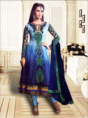 Picture of 1209SlateBlue and NavyBlue Anarkali Suit