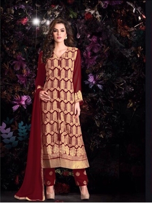 Picture of Maroon Georgette Party Wear Replica Suit