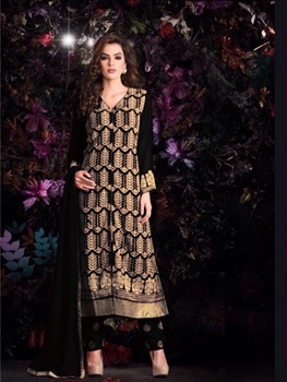 Picture of Black Georgette Party Wear Replica Suit
