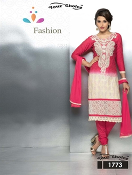 Picture of 1773 Dark Magenta and Ivory Party Wear Nazneen Straight Suit