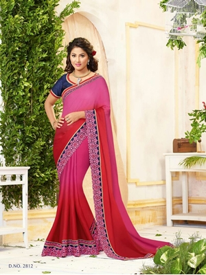 Picture of 2812Pink and Red Wedding Wear Chiffon Designer Saree