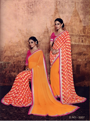 Picture of 5007Pink and Orange Georgette Party Wear Designer Saree