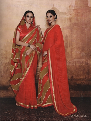Picture of 5005Red and SandBrown Georgette Party Wear Designer Saree