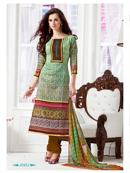 Picture of 1005Multicolor and Brown Daily Wear Satin Cotton Straight Suit
