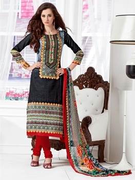Picture of 1004Black and Red Daily Wear Satin Cotton Straight Suit