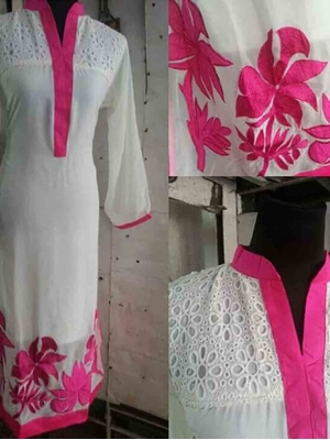 Picture of Ivory and Pink Party Wear Georgette Designer Replica Suit