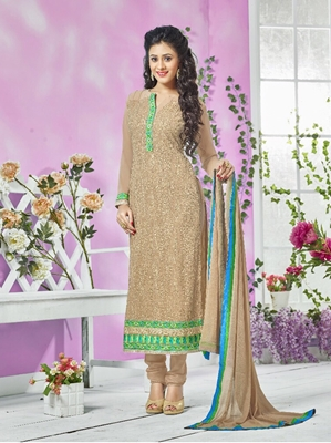 Picture of 13006SandBrown and SeaGreen Party Wear Georgette Straight Suit