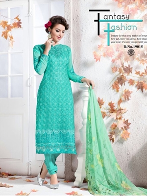 Picture of 19015SeaGreen Georgette Party Wear Straight Suit