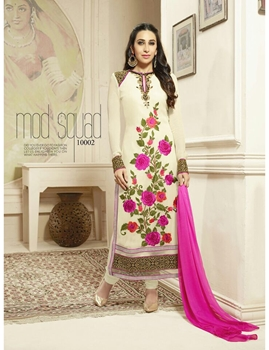 Picture of 10002 Cream and Pink Georgette Straight Suit