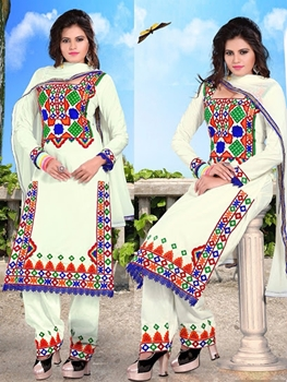 Picture of 02 White and Multicolor Patiyala Replica Suit