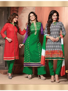 Picture of 307Red Green and White 3 in 1 Designer Suit