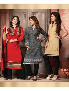 Picture of 304Red Black and SandyBrown 3 in 1 Designer Suit