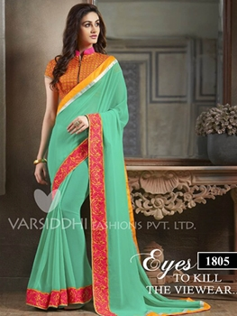 Picture of 1805 Aqua Green Georgette Designer Saree