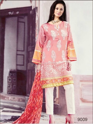 Picture of 9009 Pink and White Pure Cotton Lawn Straight Suit