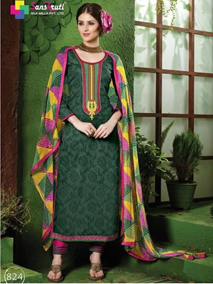Picture of 824 Dark Green and DeepPink Pure Cotton Straight Suit