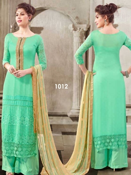 Picture of 1012 Aqua Marin Designer Georgette Plazo Suit