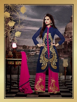 Picture of 10120 Dark Blue and Deep Pink Faux Georgette Designer Suit
