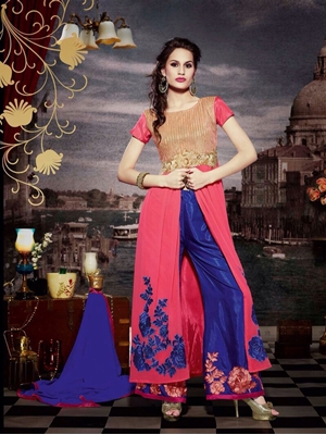 Picture of 10118 Brilliant Rose Pink and Navy Blue Faux Georgette Designer Suit