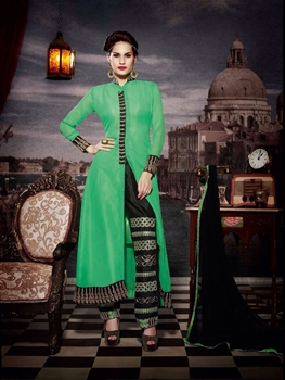 Picture of 10115 Forest Green and Black Faux Georgette Designer Suit