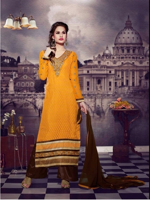 Picture of 10108Yellow and DarkBrown Brasso Straight Suit