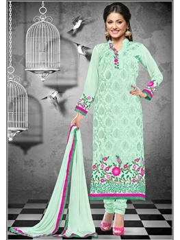 Picture of 1114MagicMint and Magenta Georgette Straight Suit