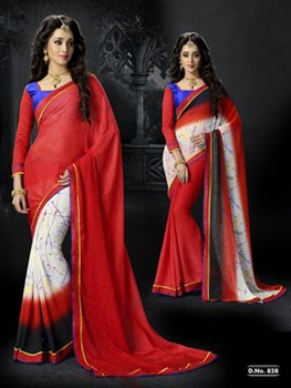 Picture of 828Red White and Brown Chiffon Saree