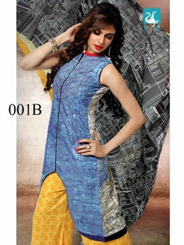 Picture of 001B SkyBlue and Yellow Lawn Cotton Chudidar Suit