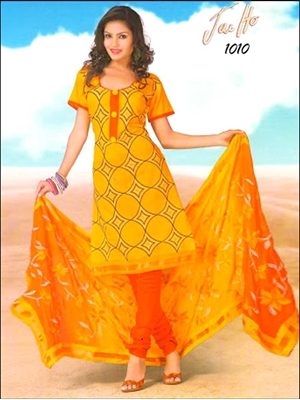 Picture of 1010GoldenYellow and FantaOrange Chanderi Chudidar Suit
