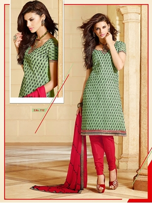 Picture of 7112 Olive Green and Red Chanderi Cotton Salwar Suit