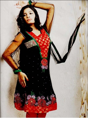 Picture of 08 Black and Red Net Anarkali Suit