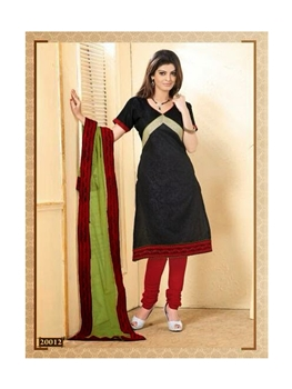 Picture of Black and DarkRed Chanderi Cotton Straight Suit