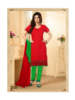 Picture of Red and ParrotGreen Chanderi Cotton Straight Suit