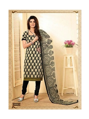 Picture of Black and Beige Chanderi Cotton Straight Suit