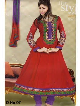 Picture of 07 Firebric Red and Purple Georgette Anarkali Suit