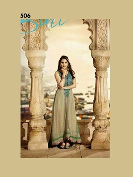 Picture of 506SandyBrown and SeaGreen Georgette Designer Suit