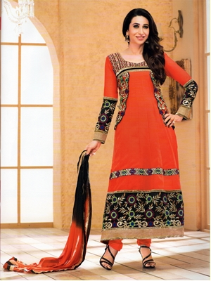Picture of 1007Orange and Red Georgette Anarkali Suit