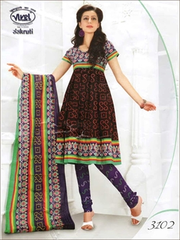 Picture of 3102Black and DarkSlateBlue Cotton Salwar Suit