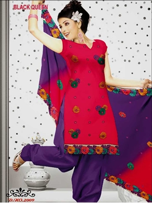 Picture of 2009Pink and Purple Cotton Salwar Suit