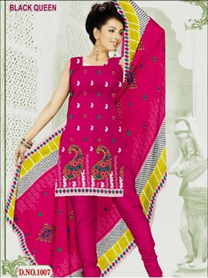 Picture of 1007Magenta and White Cotton Salwar Suit