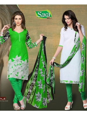 Picture of 09 Green and White Chudidar Suit