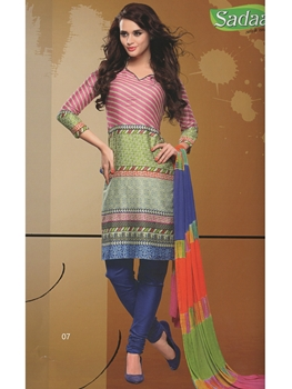 Picture of 07 Pink and Blue Cotton Chudidar Suit