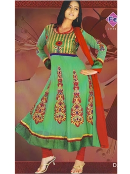 Picture of 4009LightSeaGreen and Red Georgette Anarkali Suit