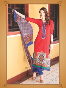 Picture of 0777A Red and Blue Cotton Jacquard Straight Suit