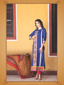 Picture of 0775C Blue and White Cotton Jacquard Straight Suit