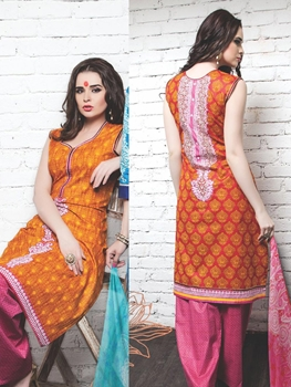 Picture of 05Orange Red DarkPink Cotton Satin Pakistani Suit