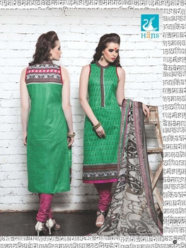 Picture of 04Green and DarkPink Cotton Satin Pakistani Suit