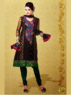 Picture of 114Black and DarkOliveGreen Georgette Designer Suit