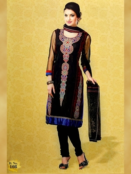 Picture of 108Black and Blue Georgette Designer Suit