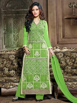 Picture of 9081 Parrot Green Georgette Straight Suit